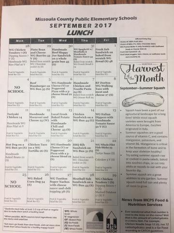 september 2017 lunch menu